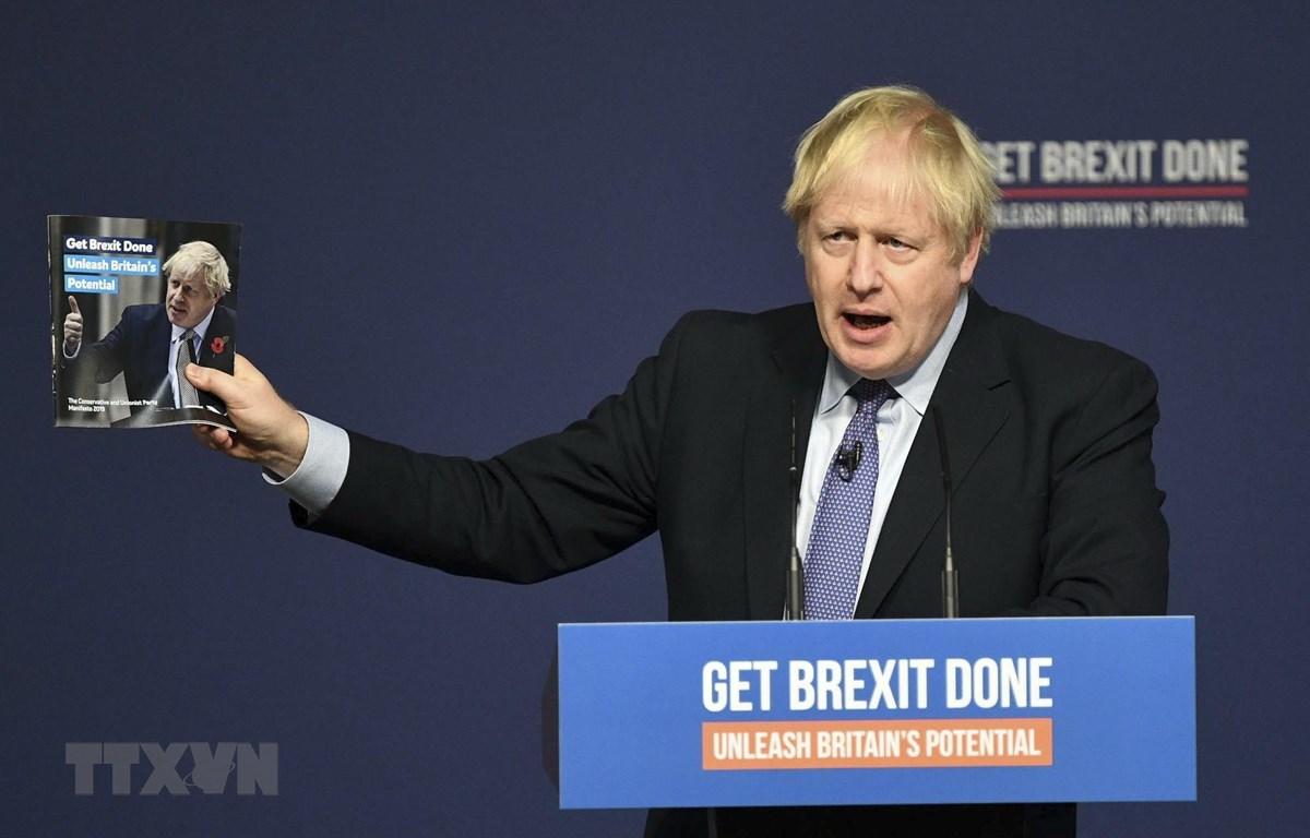 Thủ tướng Anh Boris Johnson phát biểu tại Telford, Anh, ngày 24/11/2019. (Ảnh: THX/TTXVN)
