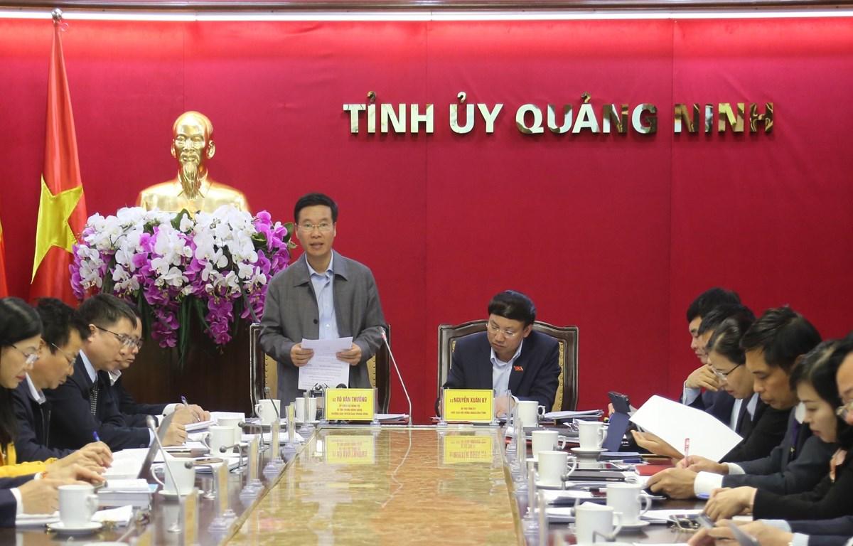 Trưởng ban Tuyên giáo Trung ương Võ Văn Thưởng phát biểu tại buổi làm việc. (Ảnh: Đức Hiếu/TTXVN)