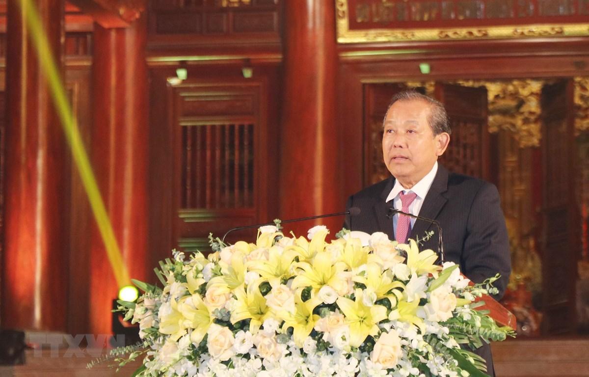 Phó Thủ tướng Trương Hòa Bình phát biểu tại buổi lễ. (Ảnh: Hoàng Nguyên/TTXVN)