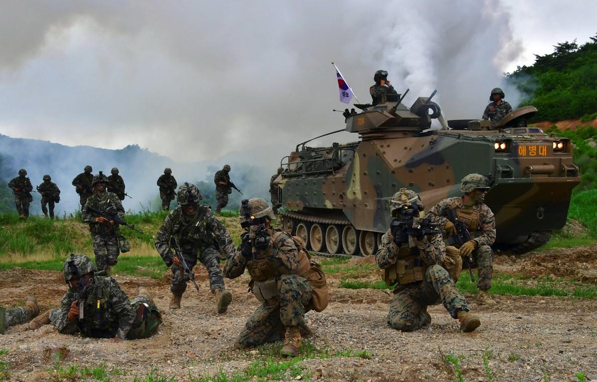 Binh sĩ Mỹ và Hàn Quốc tham gia một cuộc tập trận chung tại Pohang (Hàn Quốc). (Ảnh: AFP/TTXVN)