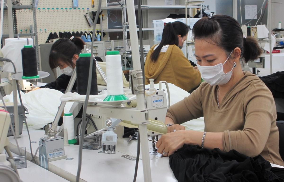 Thực tập sinh Việt Nam tại Công ty TNHH Mishow (Tokyo) đeo khẩu trang trong khi làm việc. (Ảnh: Đào Thanh Tùng/TTXVN)