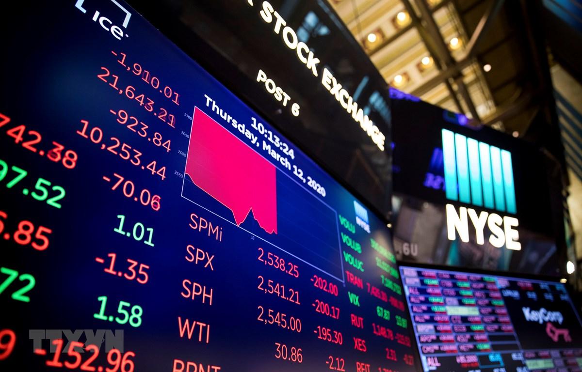 Sắc đỏ bao trùm tại sàn giao dịch chứng khoán New York, Mỹ ngày 12/3/2020. (Ảnh: THX/TTXVN)
