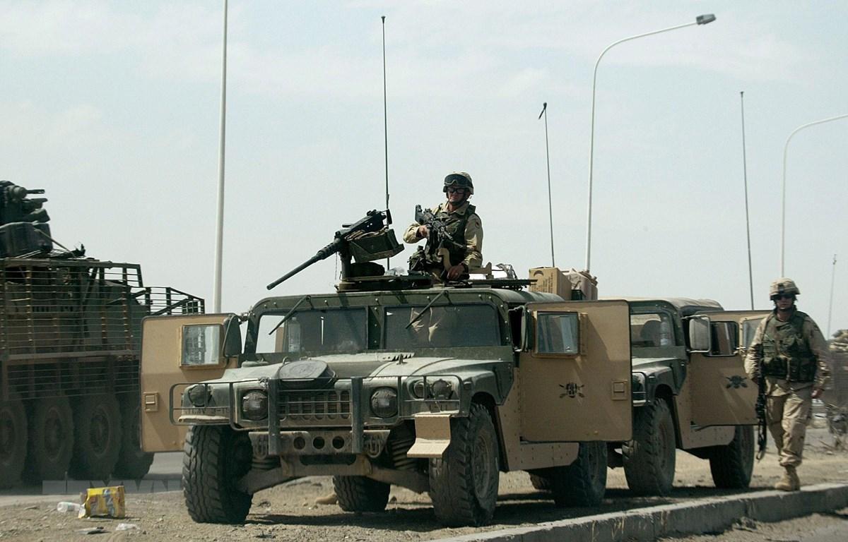 Binh sỹ Mỹ tại căn cứ Taji air, cách thủ đô Baghdad, Iraq, khoảng 20km về phía bắc. (Ảnh: AFP/TTXVN)