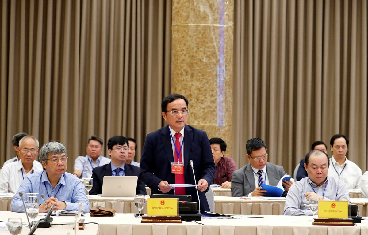 Ông Dương Quang Thành, Chủ tịch Hội đồng thành viên Tập đoàn Điện lực Việt Nam (EVN), đại diện Khối doanh nghiệp Nhà nước phát biểu. (Ảnh: Thống Nhất/TTXVN)