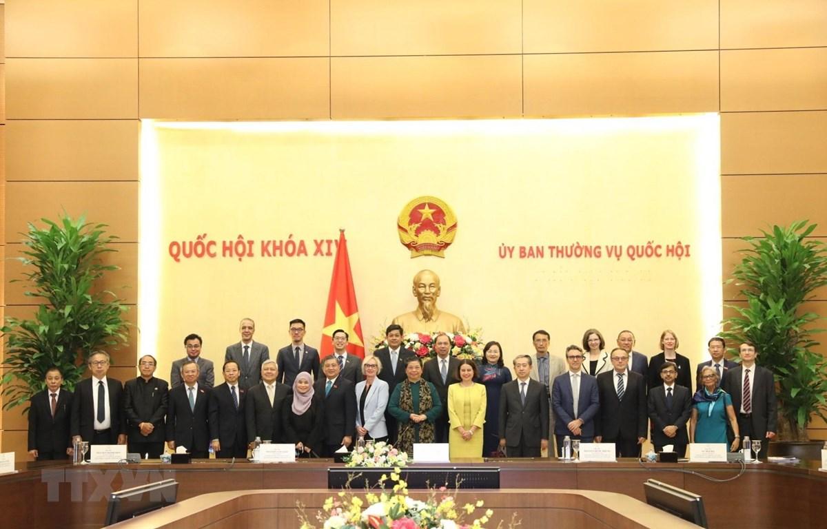 Phó Chủ tịch Thường trực Quốc hội Tòng Thị Phóng, Trưởng Ban Tổ chức AIPA 41 với các đại sứ, đại diện đại sứ quán các nước tại buổi tiếp. (Ảnh: Văn Điệp/TTXVN)