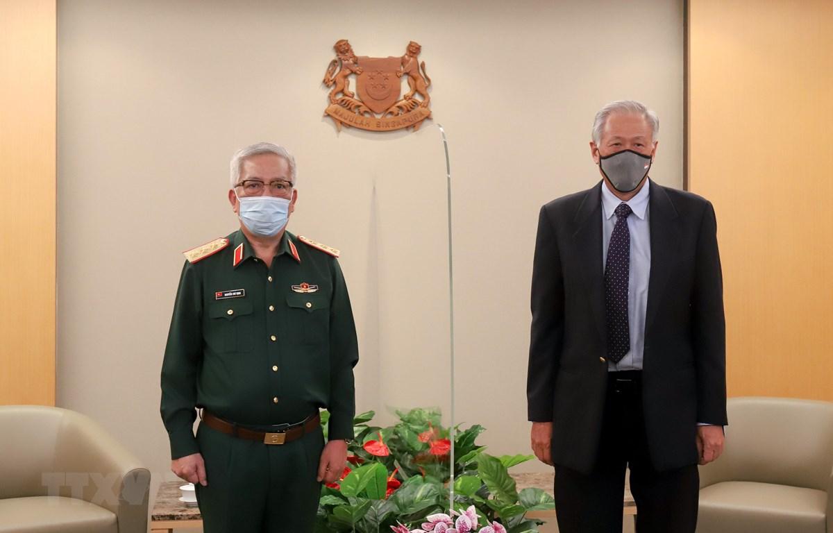 Thứ trưởng Bộ Quốc phòng Nguyễn Chí Vịnh chào xã giao Bộ trưởng Quốc phòng Ng Eng Hen ngày 6/11/2020. (Ảnh: Lê Dương/TTXVN)