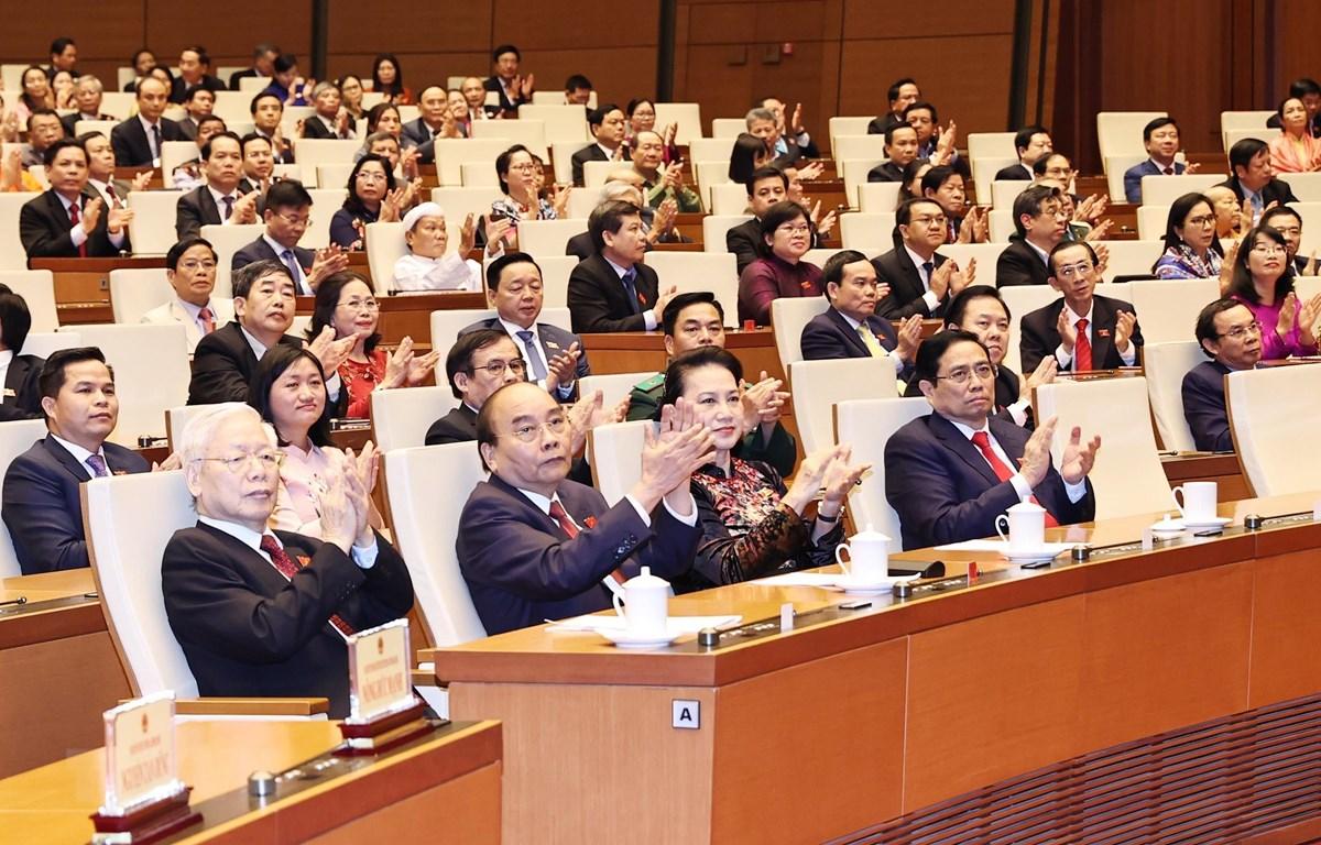 Tổng Bí thư Nguyễn Phú Trọng và các đồng chí lãnh đạo Đảng, Nhà nước dự lễ bế mạc Kỳ họp thứ 11, Quốc hội khóa XIV. (Ảnh: Trọng Đức/TTXVN)