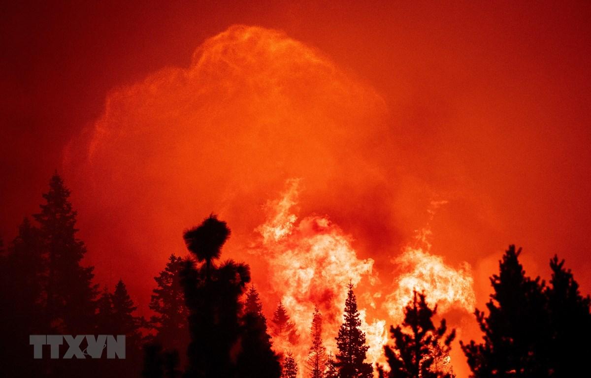 Khói lửa bốc lên tại đám cháy Coldor ở Twin Bridges, bang California, Mỹ ngày 29/8. (Ảnh: AFP/TTXVN)