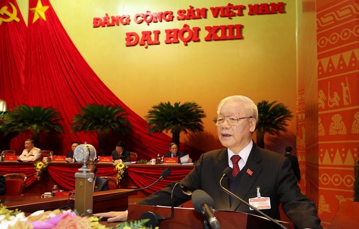 Tổng Bí thư, Chủ tịch nước Nguyễn Phú Trọng đọc Báo cáo Chính trị tại Đại hội XIII của Đảng (Nguồn: TTXVN)