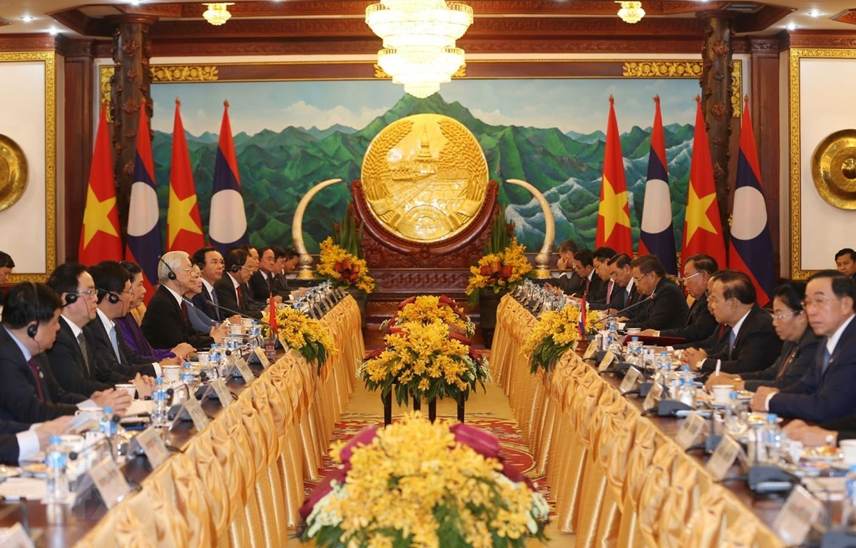 Tổng Bí thư, Chủ tịch nước Nguyễn Phú Trọng hội đàm với Tổng Bí thư, Chủ tịch nước Lào Bounnhang Vorachith. (Ảnh: Trí Dũng/TTXVN)