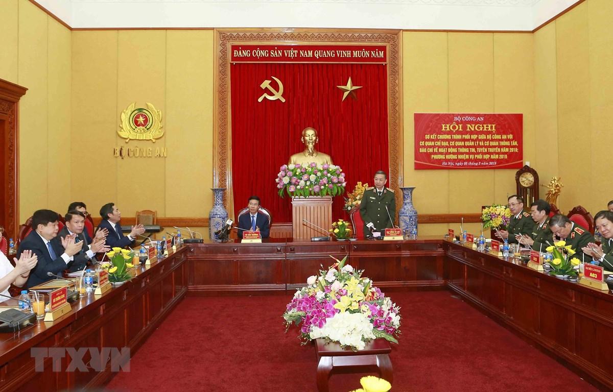 Đại tướng Tô Lâm, Ủy viên Bộ Chính trị, Bộ trưởng Bộ Công an phát biểu. (Ảnh: Doãn Tấn/TTXVN)