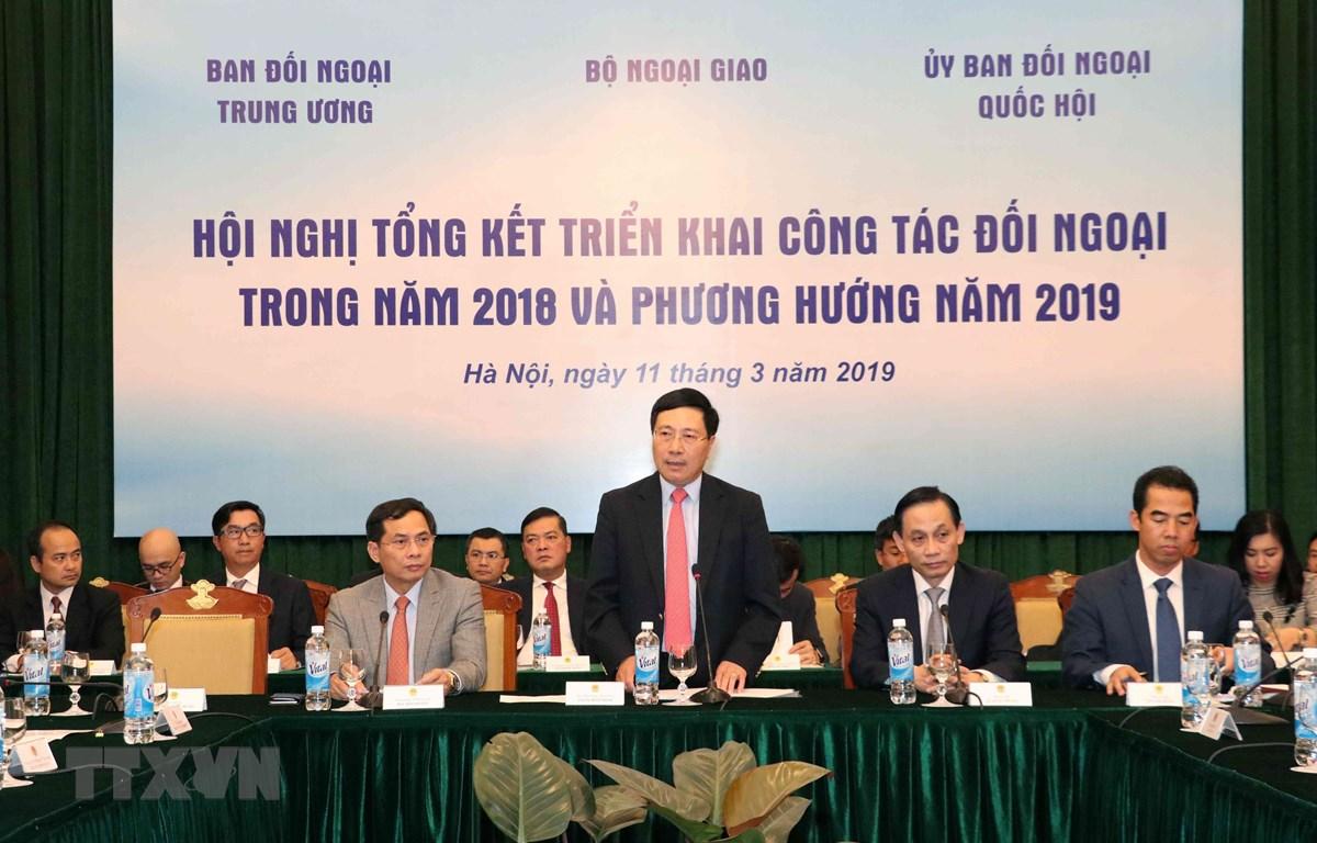 Phó Thủ tướng, Bộ trưởng Bộ Ngoại giao Phạm Bình Minh phát biểu. (Ảnh: Văn Điệp/TTXVN)
