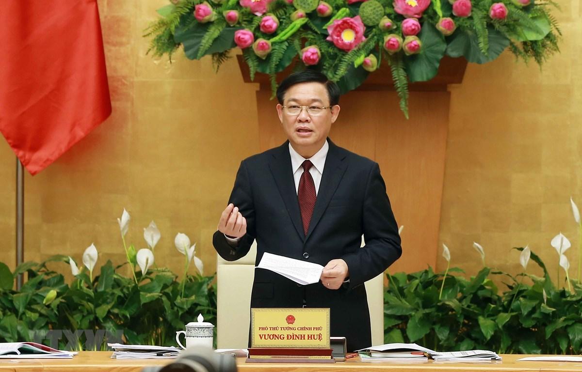 Phó Thủ tướng Vương Đình Huệ, Trưởng ban Chỉ đạo Tổng điều tra dân số và nhà ở Trung ương phát biểu. (Ảnh: Doãn Tấn/TTXVN)