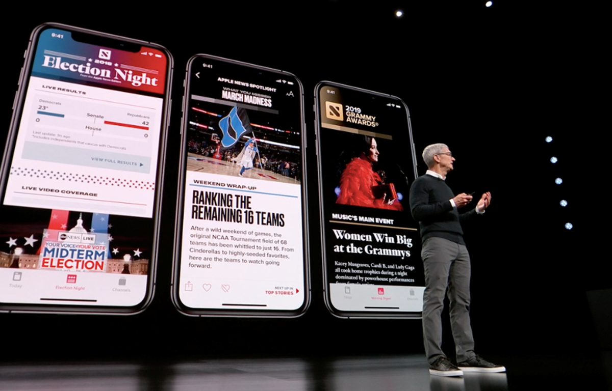 CEO Apple Tim Cook giới thiệu về Apple News+. (Nguồn: Cnet)