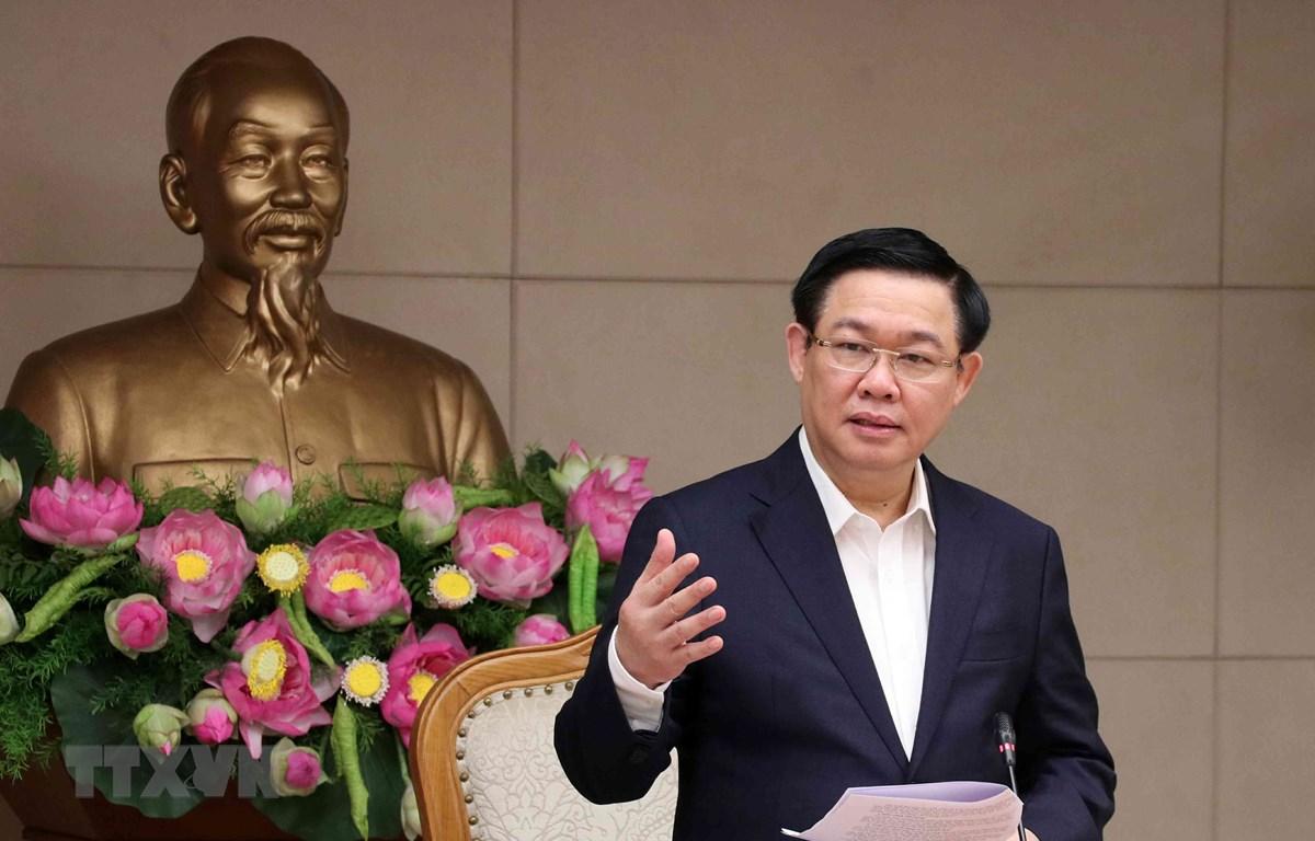 Phó Thủ tướng Vương Đình Huệ, Trưởng Ban Chỉ đạo điều hành giá phát biểu. (Ảnh: Văn Điệp/TTXVN)