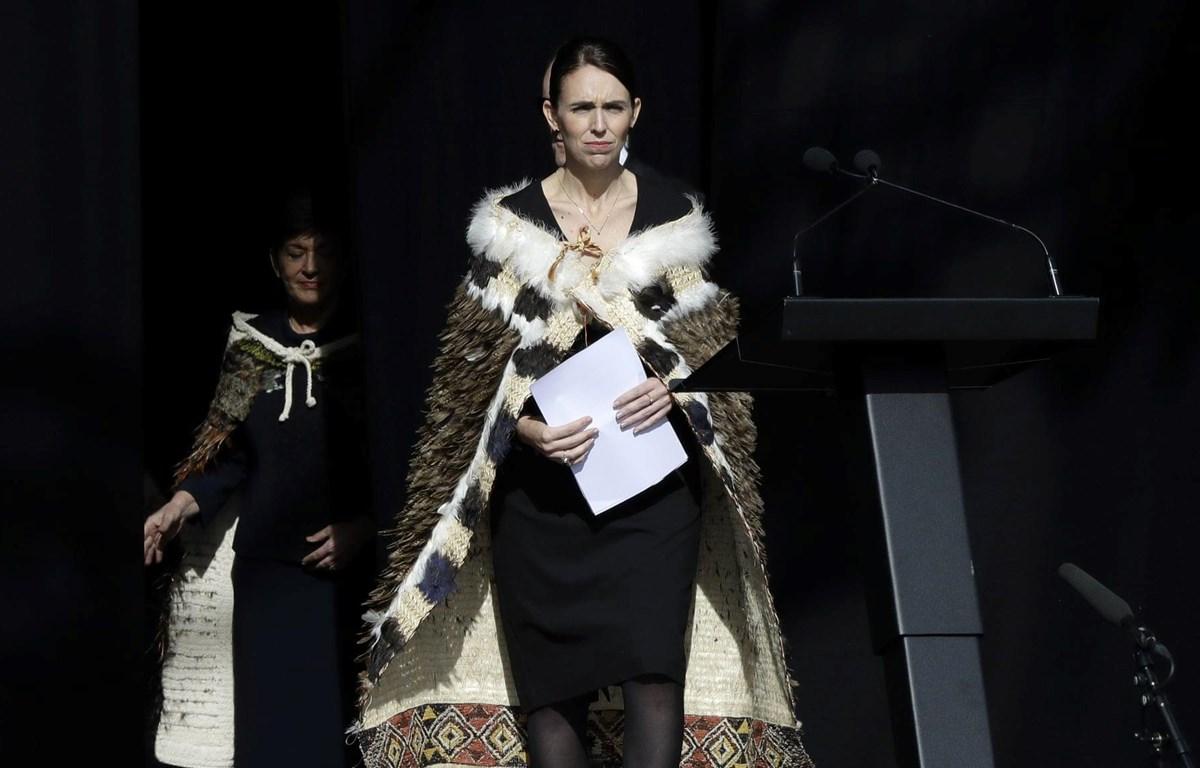Thủ tướng New Zealand Jacinda Ardern tại lễ tưởng niệm. (Nguồn: AP)