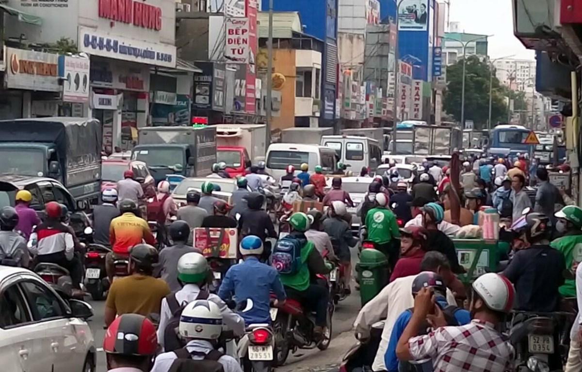 Một đoạn đường bị ùn tắc giao thông ở Thành phố Hồ Chí Minh. (Nguồn: TTXVN)