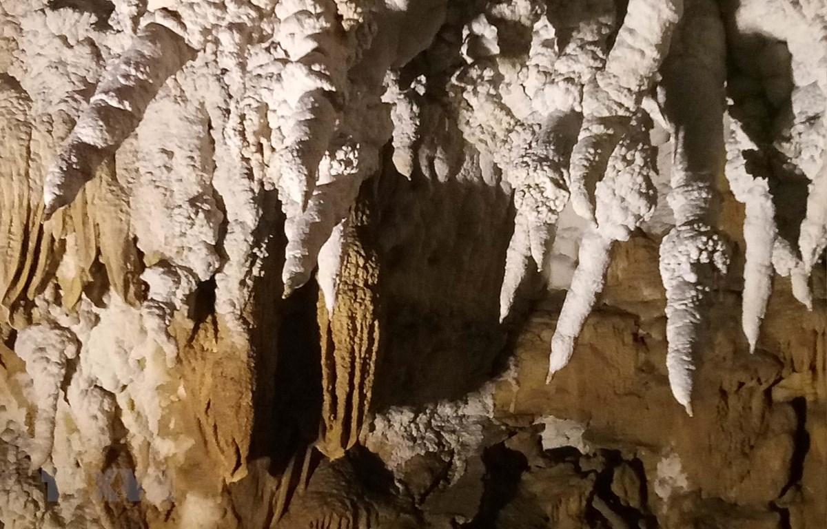 Vẻ đẹp kỳ thú của những nhũ đá trên vách trong hang động Huổi Cang. (Ảnh: Xuân Tiến/TTXVN)