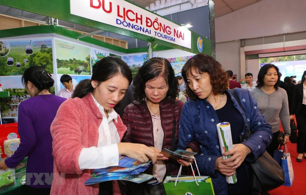 Du khách chọn cho mình những tour du lịch thích hợp tại hội chợ VITM 2019.. (Ảnh: Thành Đạt/TTXVN)