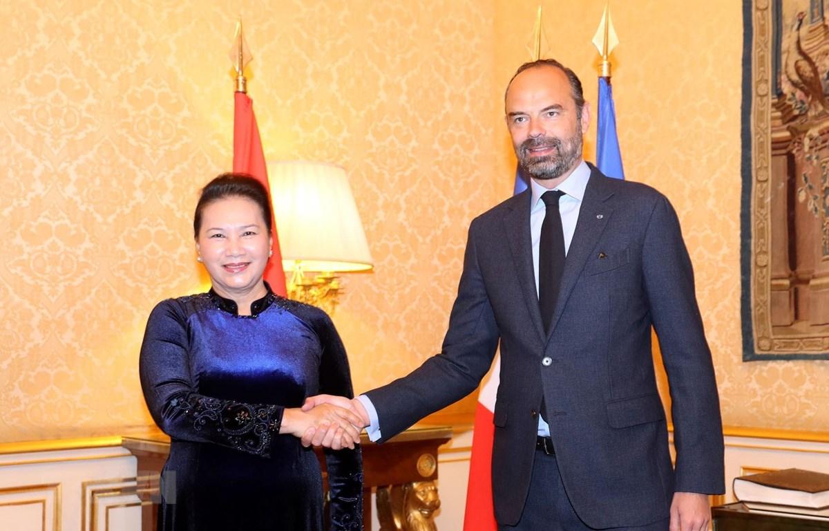 Chủ tịch Quốc hội Nguyễn Thị Kim Ngân hội kiến Thủ tướng Cộng hòa Pháp Edouard Philippe. (Ảnh: Trọng Đức/TTXVN)