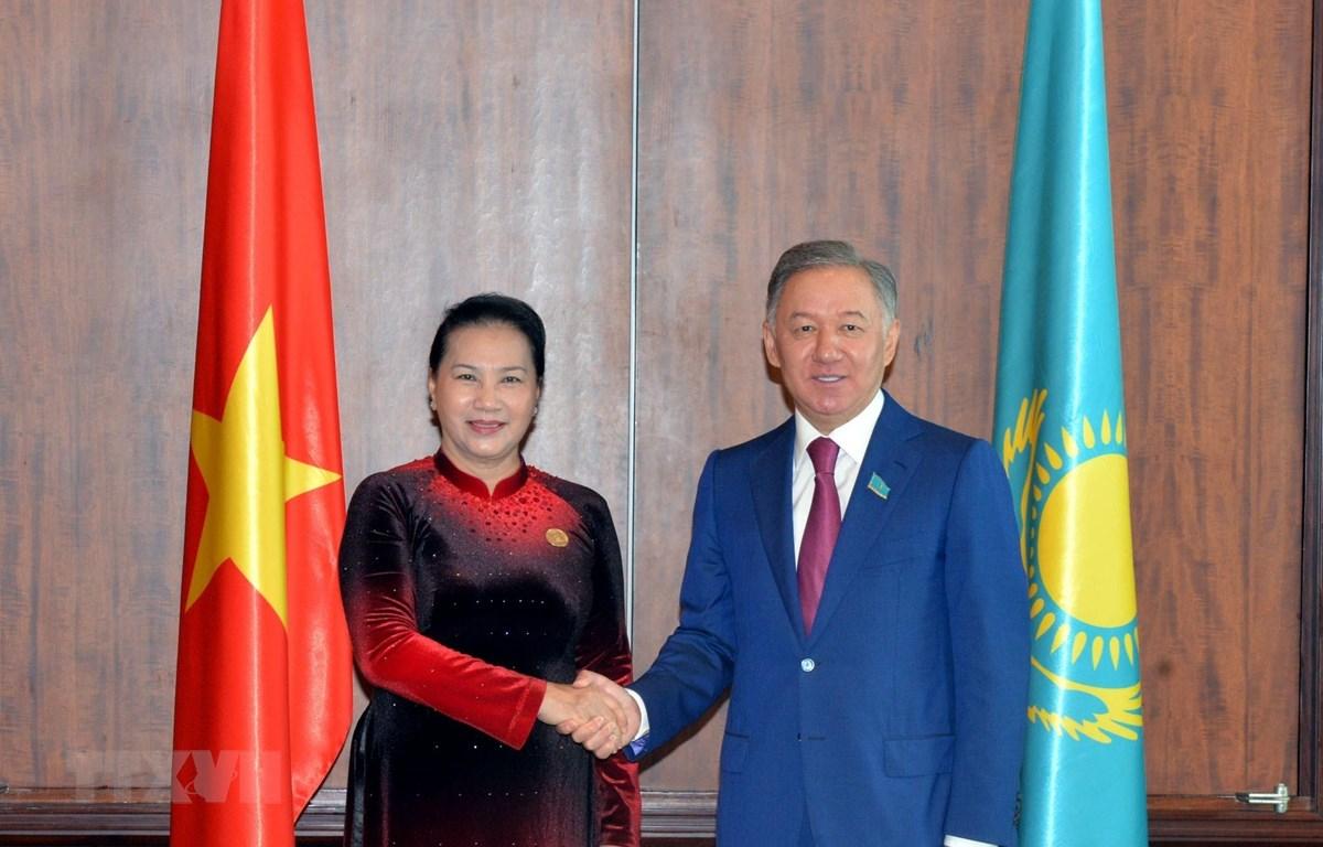 Chủ tịch Quốc hội Nguyễn Thị Kim Ngân hội kiến Ngài Nurlan Z.Nigmatulin, Chủ tịch Quốc hội Cộng hòa Kazakhstan. (Ảnh: Trọng Đức/TTXVN)