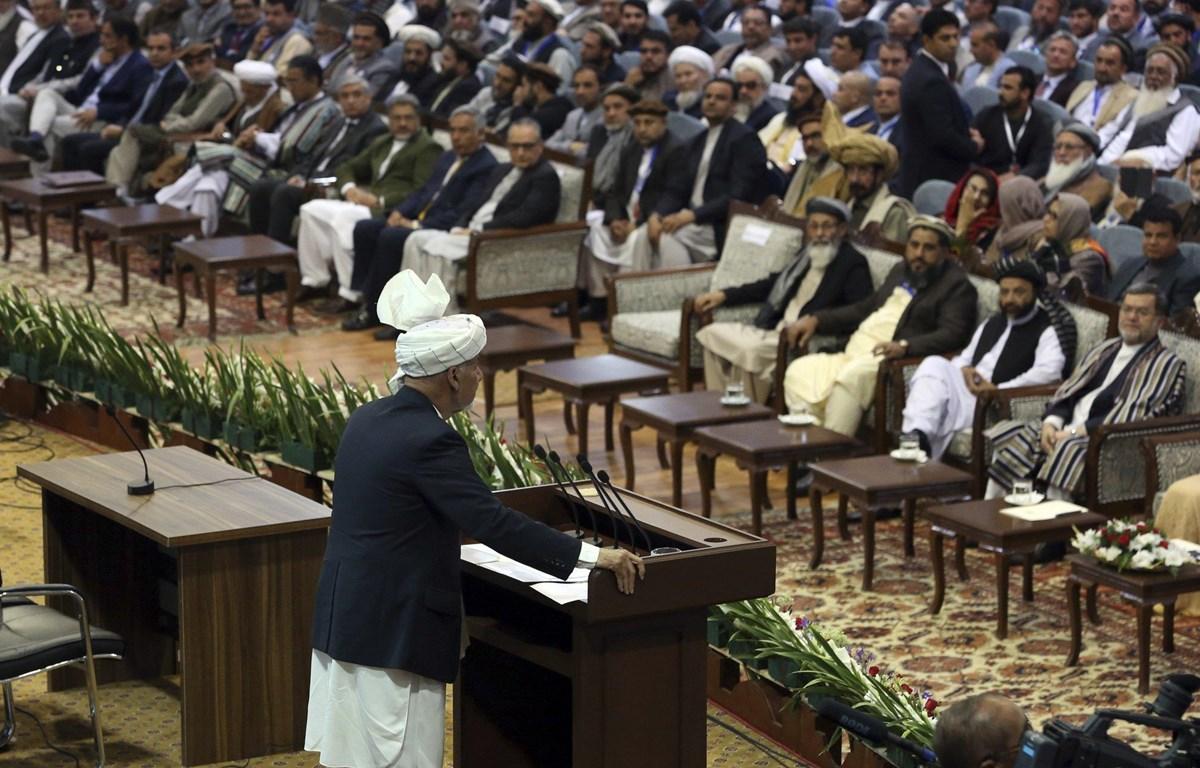 Tổng thống Afghanistan Ashraf Ghani phát biểu khai mạc hội nghị. (Nguồn: AP)