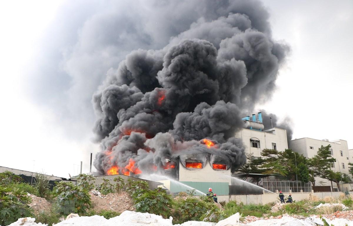 Hiện trường nơi xảy ra vụ cháy. (Nguồn: TTXVN phát)