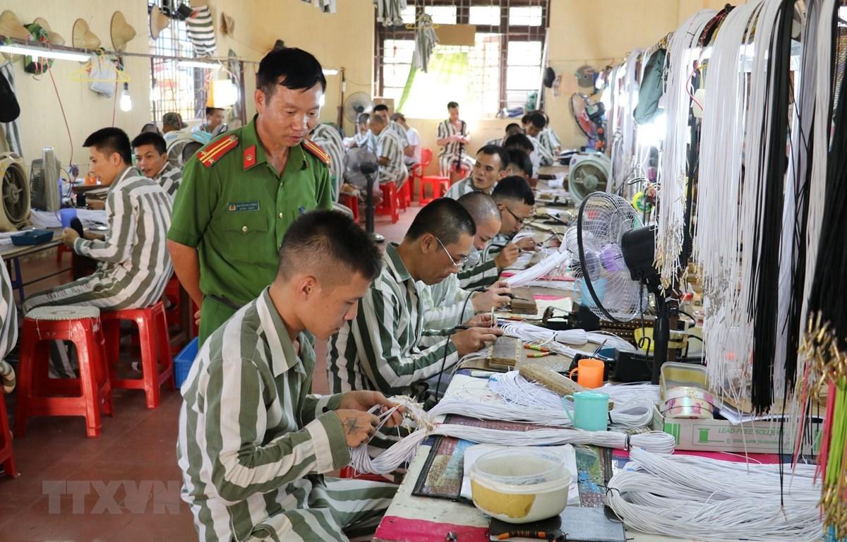 Phạm nhân phân trại số 1, Trại giam Ninh Khánh (Ninh Bình) trong giờ lao động. (Ảnh: Ninh Đức Phương/TTXVN)