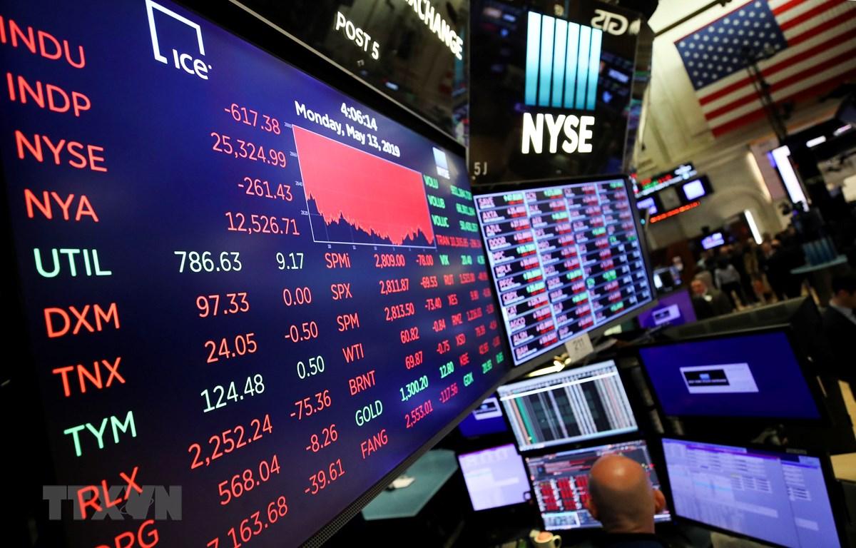 Bảng tỉ giá tại Sàn giao dịch chứng khoán New York, Mỹ, ngày 13/5/2019. (Nguồn: THX/TTXVN)