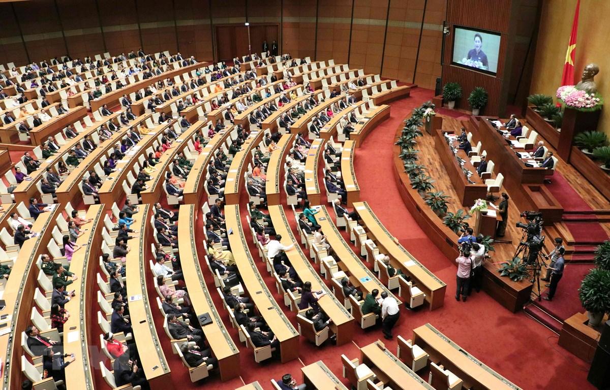 Chủ tịch Quốc hội Nguyễn Thị Kim Ngân phát biểu bế mạc kỳ họp thứ bảy, Quốc hội khóa XIV. (Ảnh: Văn Điệp/TTXVN)