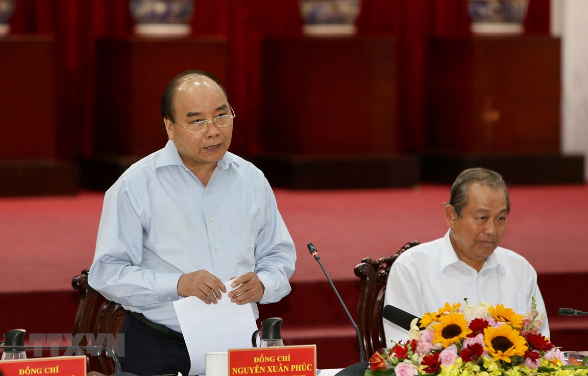 Thủ tướng Nguyễn Xuân Phúc phát biểu chỉ đạo. (Ảnh: Dương Giang/TTXVN)