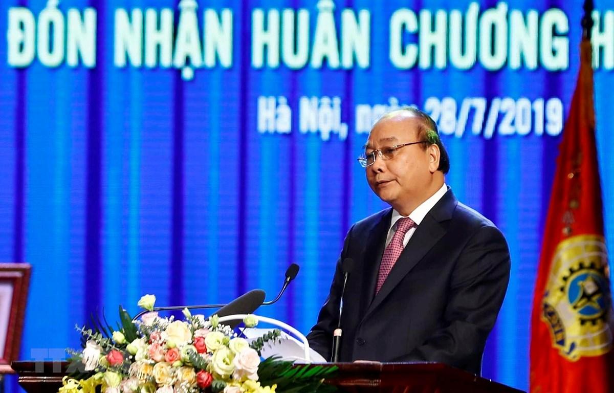 Thủ tướng Nguyễn Xuân Phúc phát biểu tại lễ kỷ niệm. (Ảnh: Thống Nhất/TTXVN)