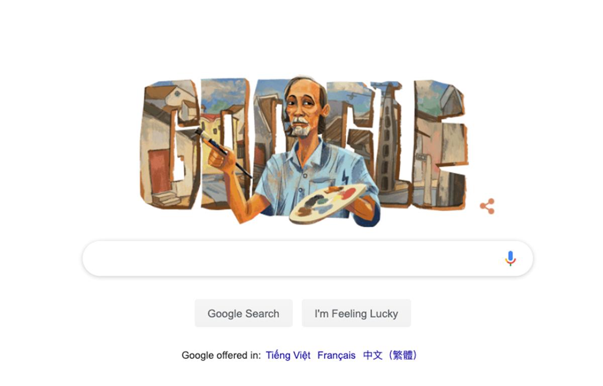 Hình ảnh họa sỹ Bùi Xuân Phái được Google vinh danh trên trang tìm kiếm.