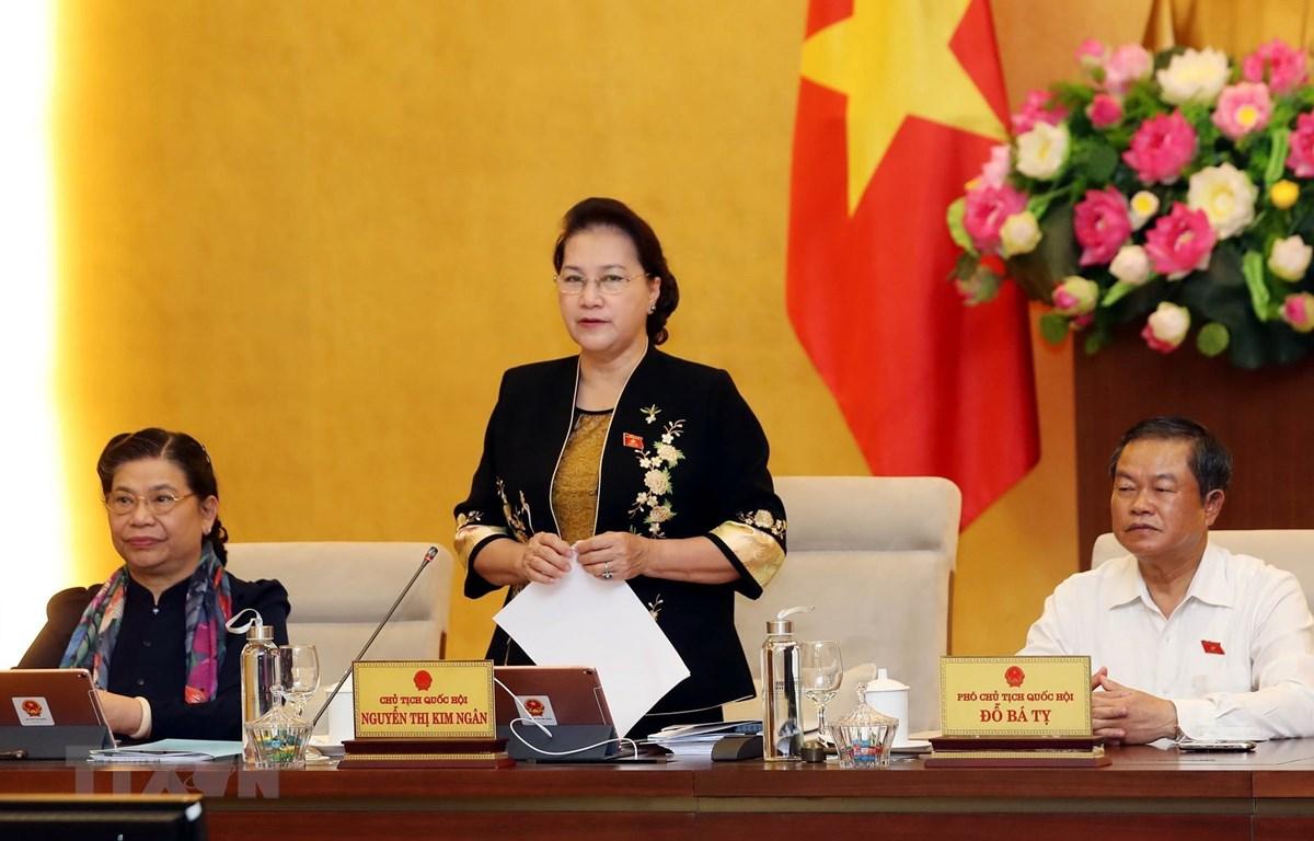 Chủ tịch Quốc hội Nguyễn Thị Kim Ngân chủ trì và phát biểu khai mạc Phiên họp thứ 37 của Ủy ban Thường vụ Quốc hội. (Ảnh: Trọng Đức/TTXVN)
