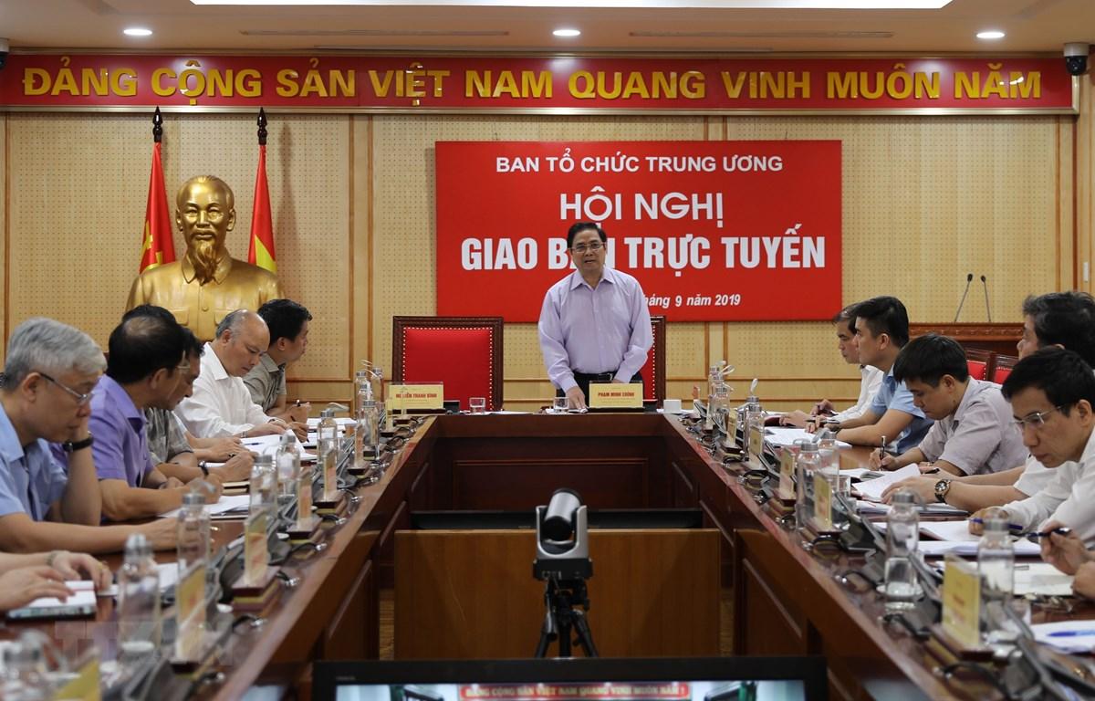Ủy viên Bộ Chính trị, Bí thư Trung ương Đảng, Trưởng Ban Tổ chức Trung ương Phạm Minh Chính phát biểu chỉ đạo hội nghị. (Nguồn: TTXVN)