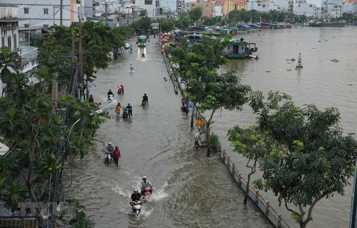 Ngập sâu trên đường Trần Xuân Soạn, Quận 7, gây khó khăn trong việc đi lại và sinh hoạt của người dân. (Ảnh: Trần Xuân Tình/TTXVN)