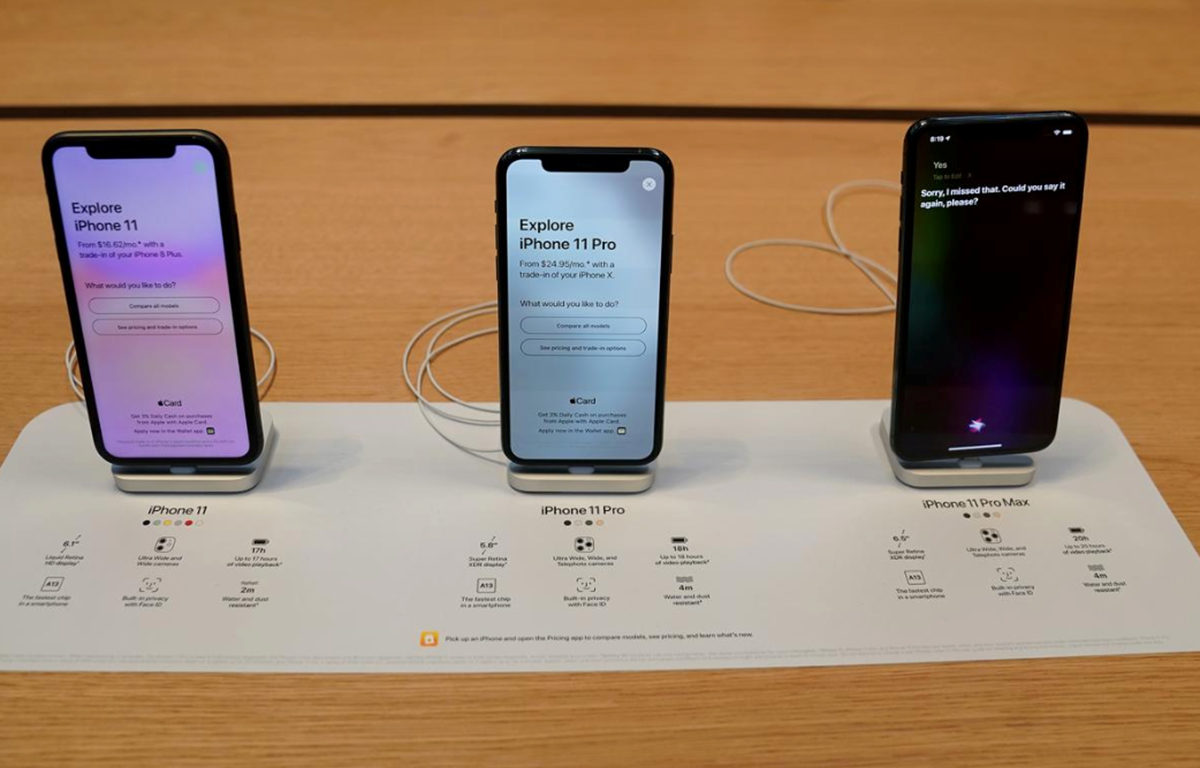 Ba mẫu iPhone 11, 11 Pro và 11 Pro Max của Apple. (Nguồn: Reuters)