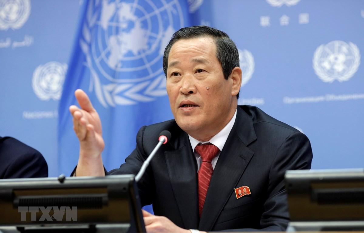 Đại sứ Triều Tiên tại Liên hợp quốc Kim Song phát biểu tại cuộc họp báo ở New York, Mỹ ngày 21/5/2019. (Nguồn: THX/TTXVN)