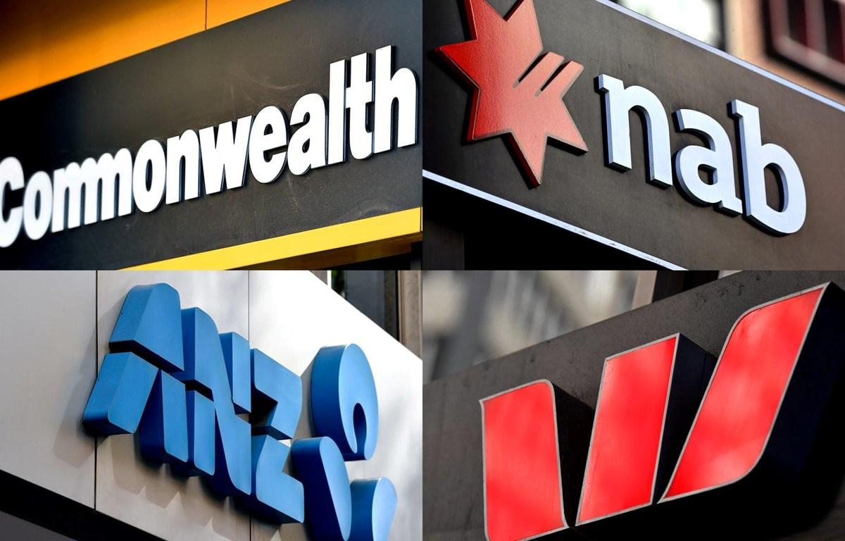 Logo 4 ngân hàng lớn nhất Australia gồm ANZ, Commonwealth Bank, National Australia Bank và Westpac. (Nguồn: AAP)
