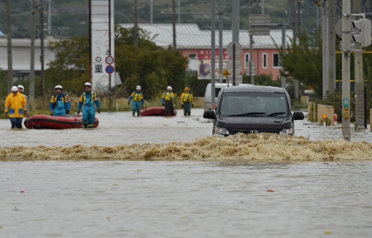 Cảnh ngập lụt do siêu bão Hagibis tại tỉnh Nagano, Nhật Bản, ngày 14/10/2019. (Nguồn: AFP/TTXVN)