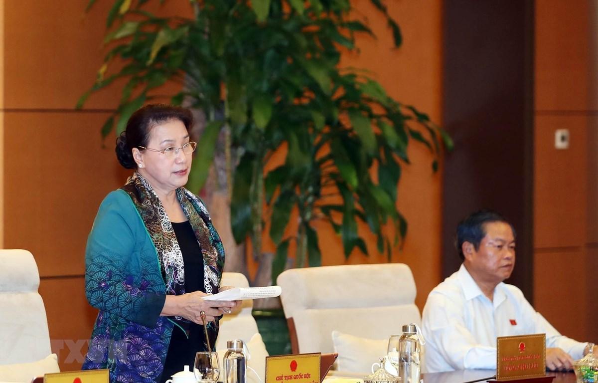 Chủ tịch Quốc hội Nguyễn Thị Kim Ngân chủ trì và phát biểu bế mạc Phiên họp thứ 38 của Ủy ban Thường vụ Quốc hội. Ảnh: Trọng Đức/TTXVN