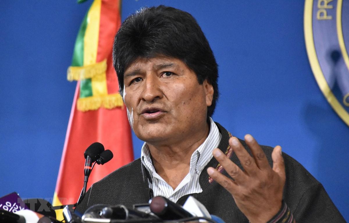 Tổng thống Bolivia Evo Morales tại cuộc họp báo ở El Alto ,Bolivia, ngày 9/11. (Nguồn: AFP/TTXVN)