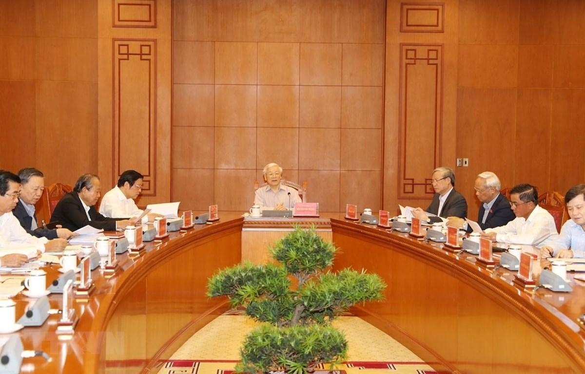 Tổng Bí thư, Chủ tịch nước Nguyễn Phú Trọng phát biểu chỉ đạo cuộc họp Thường trực Ban Chỉ đạo Trung ương về phòng, chống tham nhũng. (Ảnh: Trí Dũng/TTXVN)