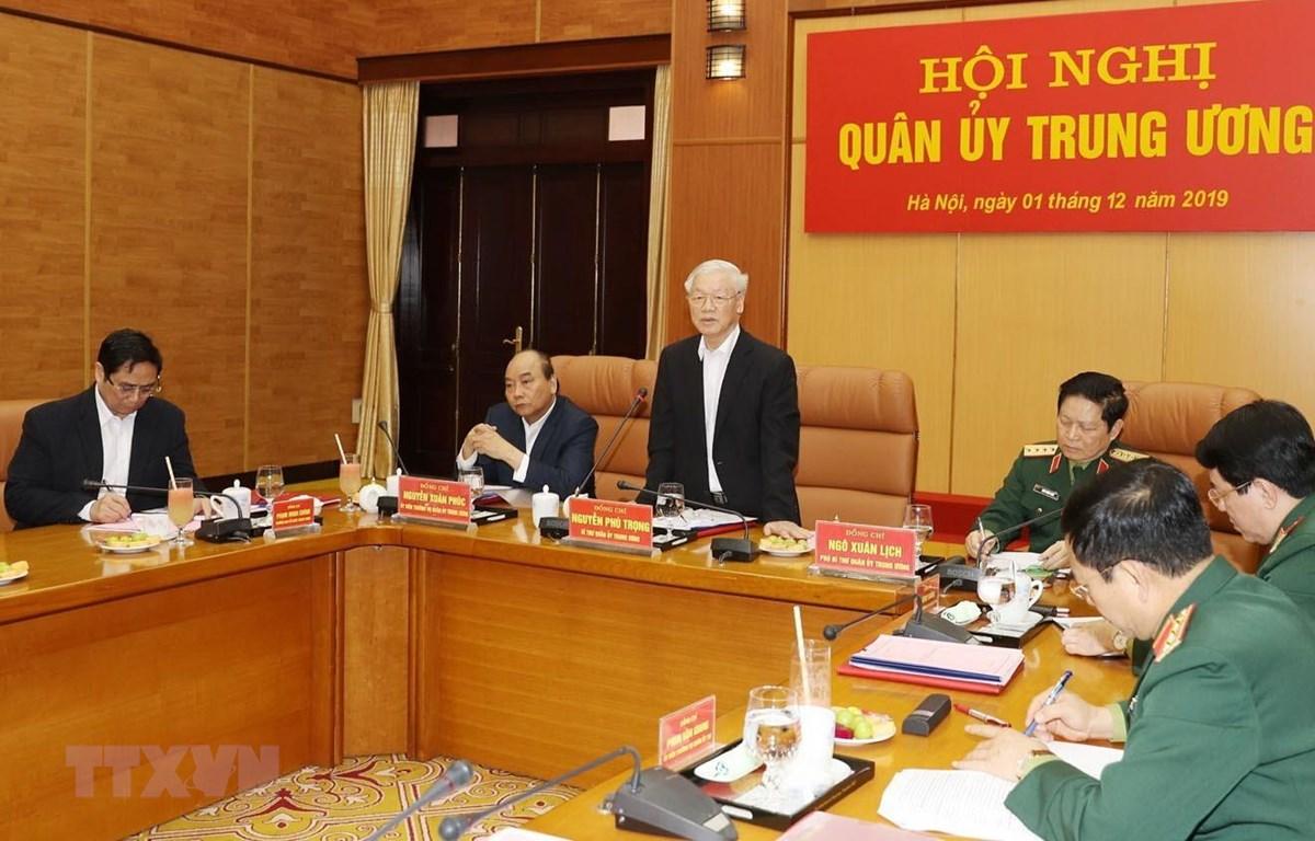 Tổng Bí thư, Chủ tịch nước Nguyễn Phú Trọng, Bí thư Quân ủy Trung ương phát biểu kết luận hội nghị. (Ảnh: Trí Dũng/ TTXVN)
