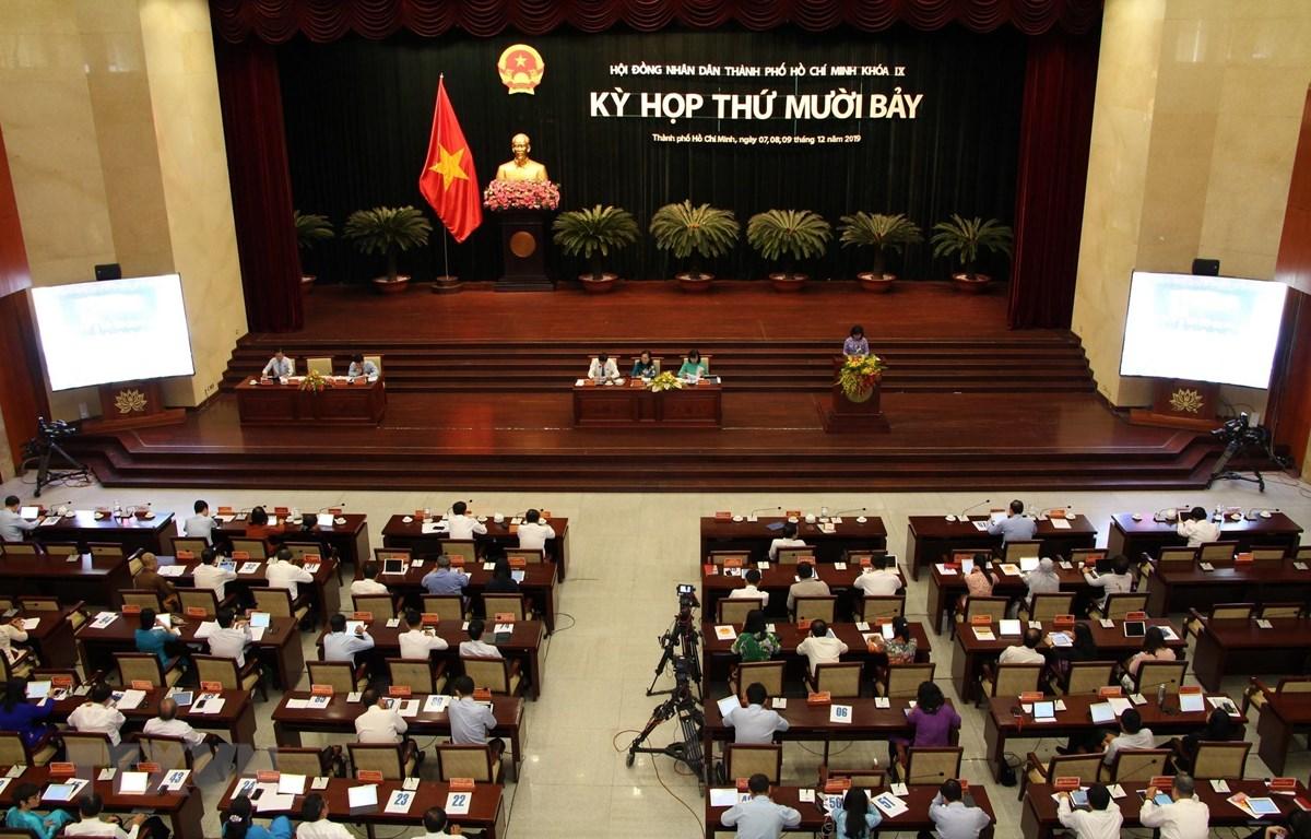 Bế mạc Kỳ họp thứ 17, Hội đồng Nhân dân Thành phố Hồ Chí Minh khóa IX. (Ảnh: Hứa Chung/TTXVN)