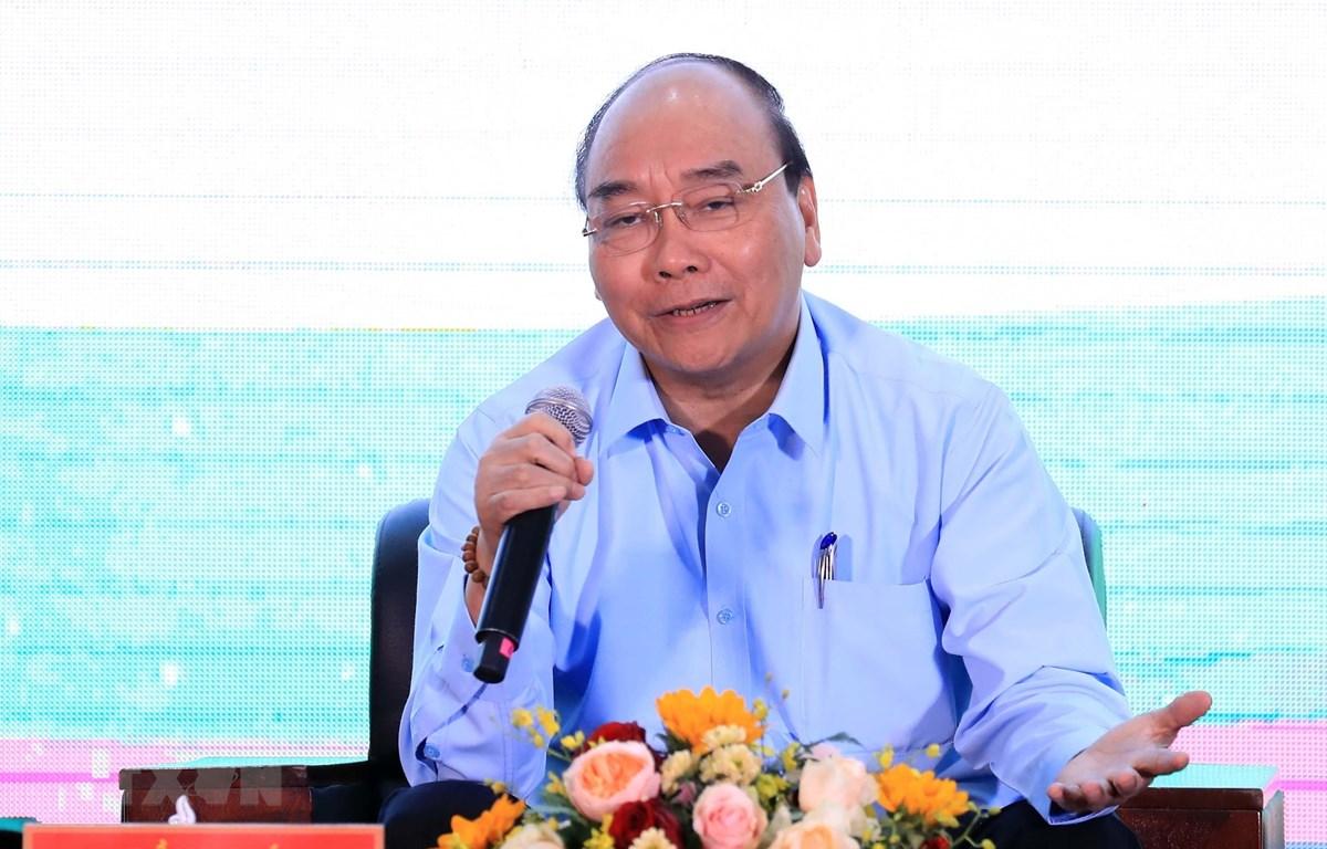 Thủ tướng Nguyễn Xuân Phúc phát biểu tại cuộc đối thoại. (Ảnh: Thống Nhất/TTXVN)