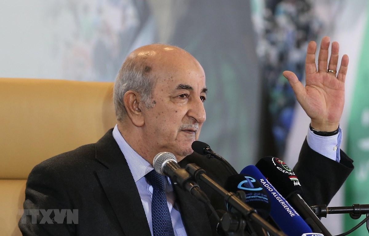 Tổng thống đắc cử Algeria Abdelmadjid Tebboune tại cuộc họp báo ở Algiers ngày 13/12/2019. (Nguồn: THX/TTXVN)