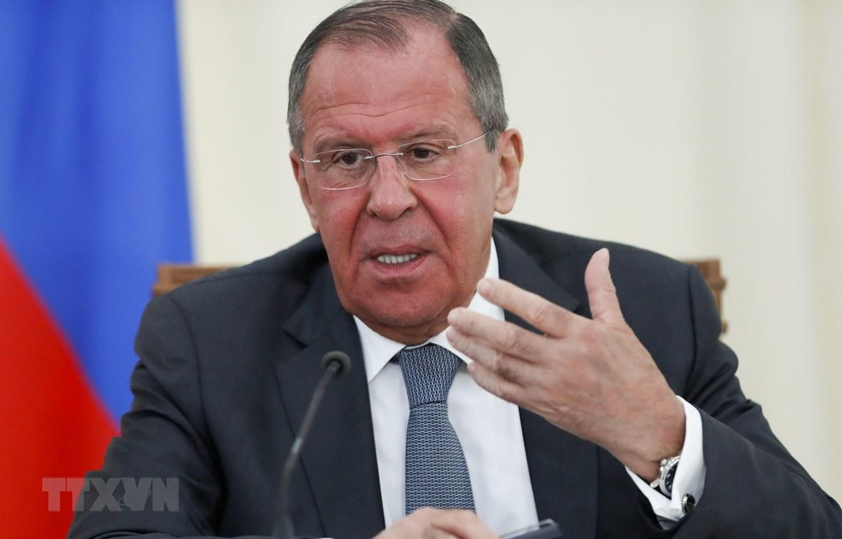 Ngoại trưởng Nga Sergei Lavrov trong cuộc họp báo tại Sochi. (Nguồn: AFP/TTXVN)