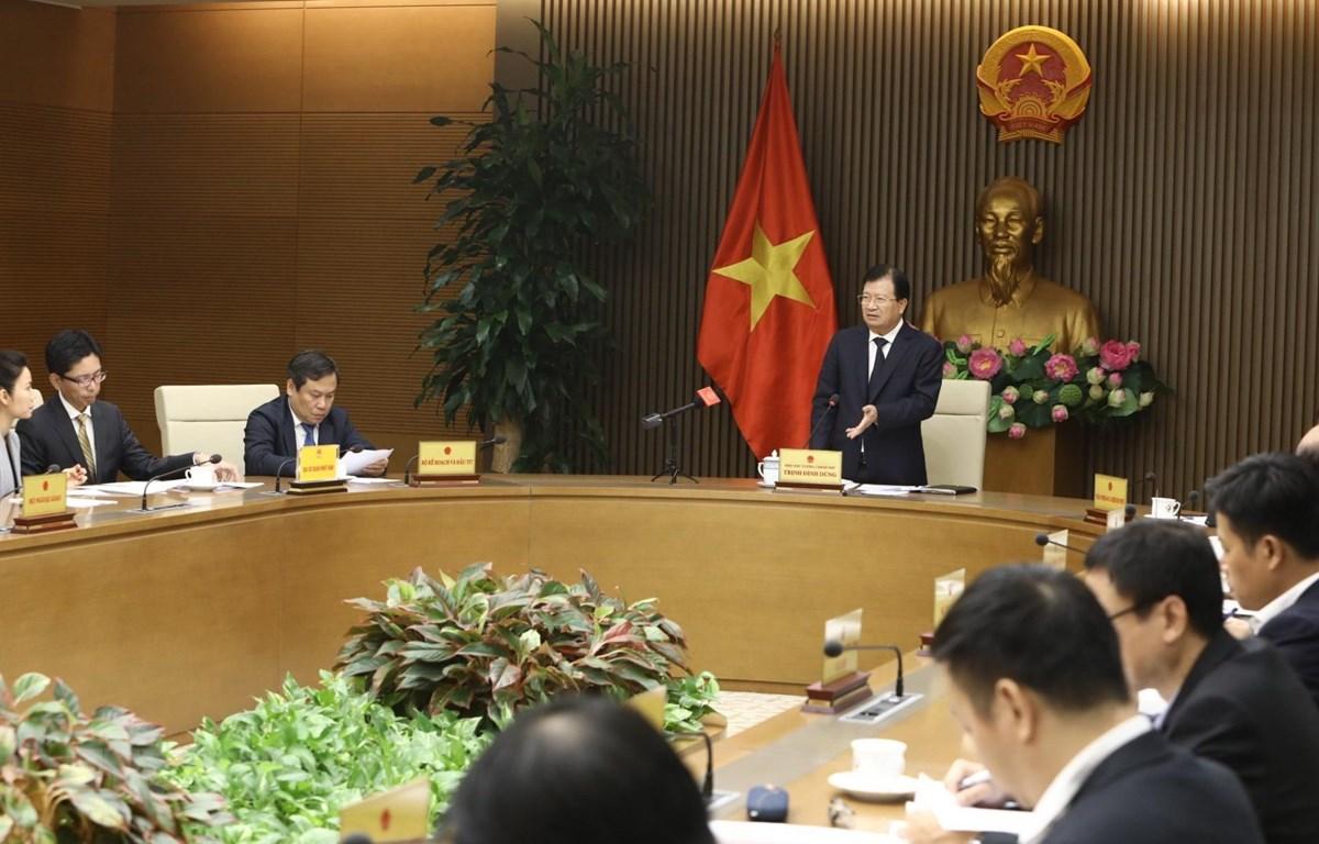 Phó Thủ tướng Trịnh Đình Dũng, Trưởng Ban Chỉ đạo phát biểu. (Ảnh: Văn Điệp/TTXVN)