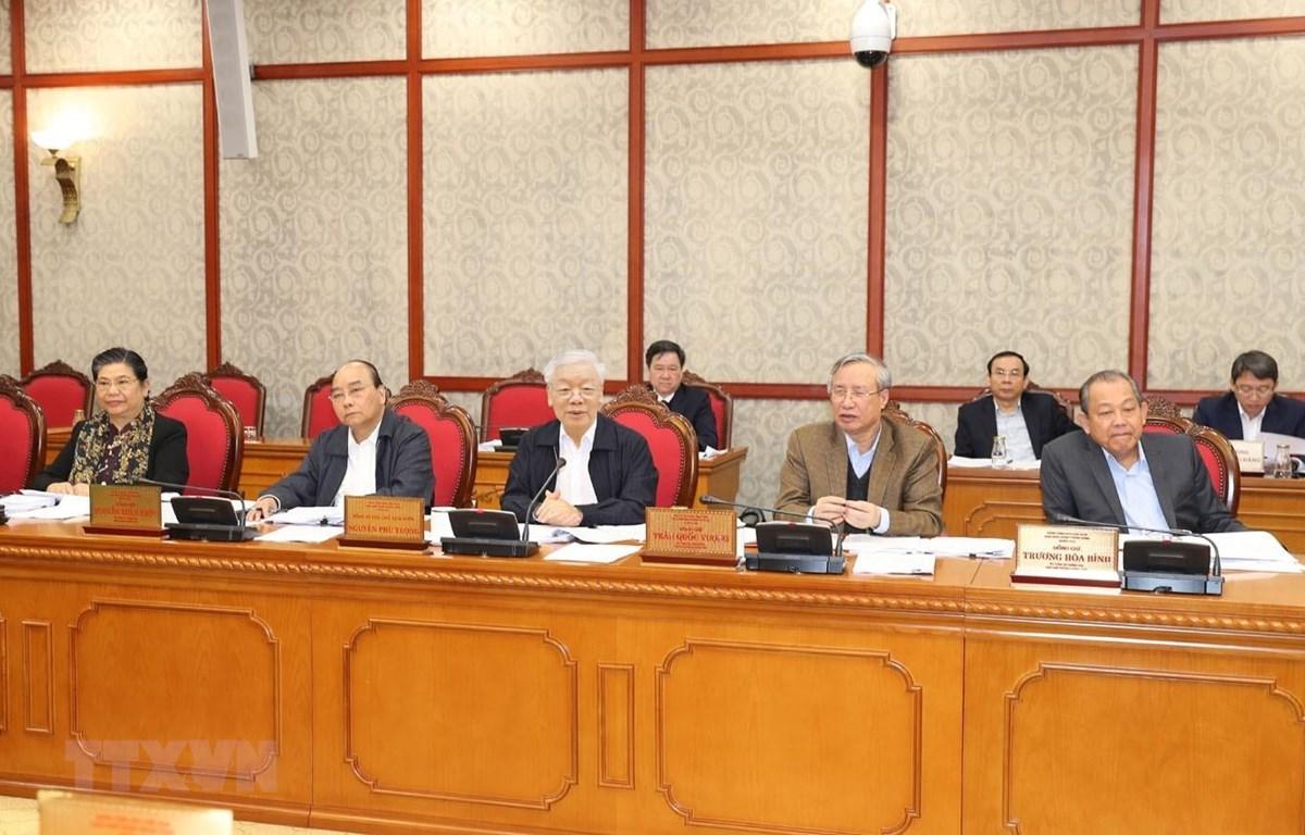 Tổng Bí thư, Chủ tịch nước Nguyễn Phú Trọng phát biểu chỉ đạo cuộc họp. (Ảnh: Trí Dũng/TTXVN)
